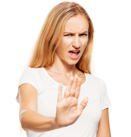 aversion: Woman showing gestures failure. Aversion Stock Photo