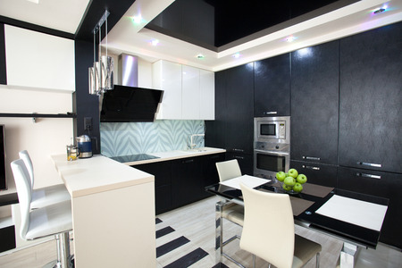 contemporary kitchen: Interior kitchen. Modern kitchen Stock Photo