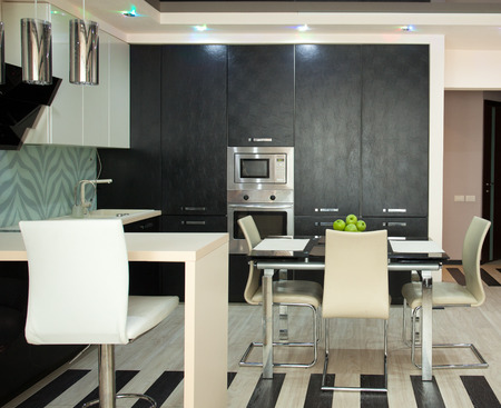 home lighting: Kitchen interior. Kitchen in modern style