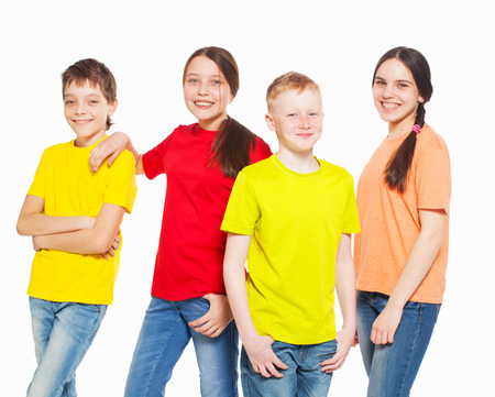 frendship: Happy group children isolated at white background. Smiling teen. Frendship boys and girls