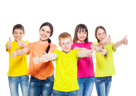 multi coloured: Happy group children isolated at white background. Smiling teen. Frendship boys and girls