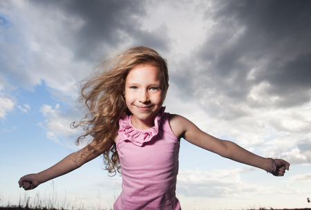 crazy hair: Happy girl at summer. Crazy child