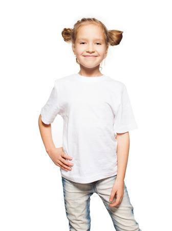흰색 티셔츠에 자식입니다. 흰색에 고립 된 소녀 스톡 콘텐츠