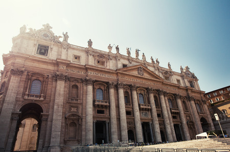 st  peter's basilica pope: Cathedral of St Peters. St. Peters Basilica, Vaticano, Italy, Rome Stock Photo