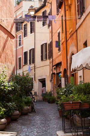 italy street: Roman street. Italy. old streets in Trastevere