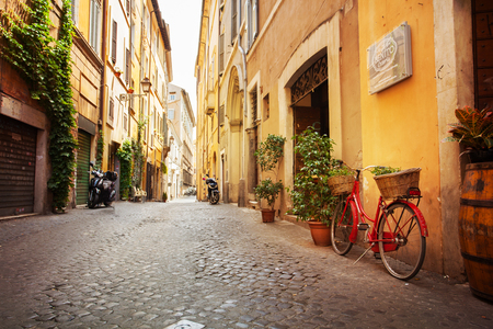 street view: Roman street. Italy. old streets in Trastevere