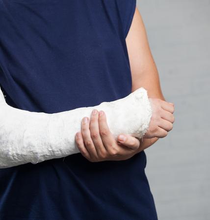 splint: Man with a plaster. Broken arm, shoulder. Injury