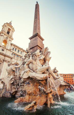navona: Piazza Navona. Fountain at square Rome