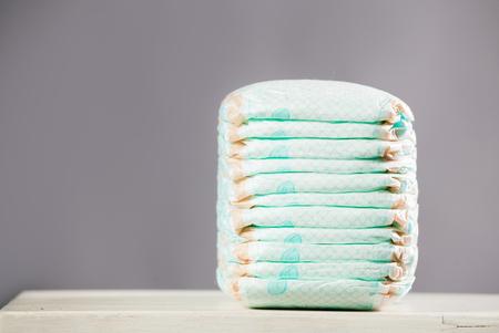 Stack of diapers. Studio Shot Imagens