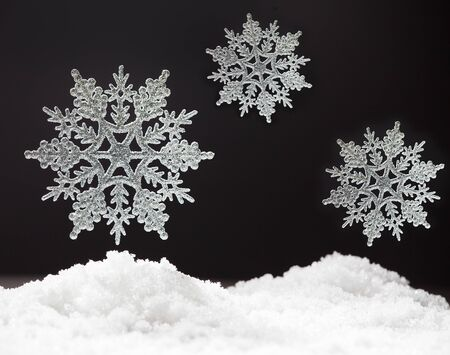 no snow: Snowflake on snow. Studio shot. Christmas Stock Photo
