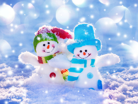 cold background: Snowman on snow. Decorations for christmas Stock Photo
