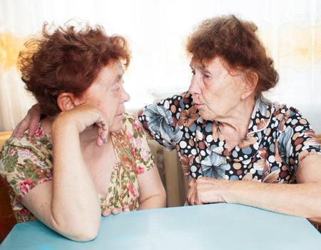 80 plus years: Two seniors. Old women talking. Friendship elderly Stock Photo