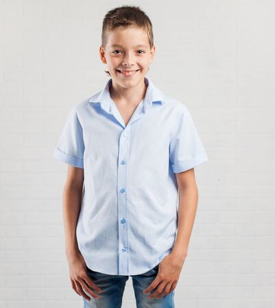 13 14 years: Happy boy. Smiling teenager at school Stock Photo