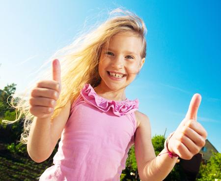 preschooler: Happy smiling child at summer.