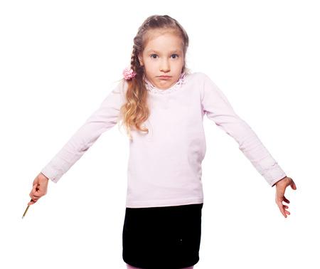 sorprendido: niña sorprendida. sin sawy Foto de archivo