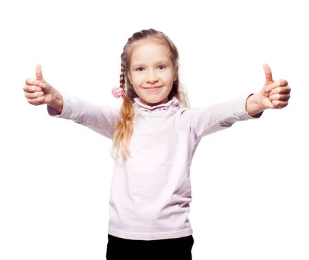 elementary schools: Girl isolated on white. Child showing thumb up. Ok