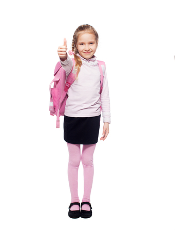 7 8 years: Child with schoolbag. Girl with school bag isolated on white Stock Photo