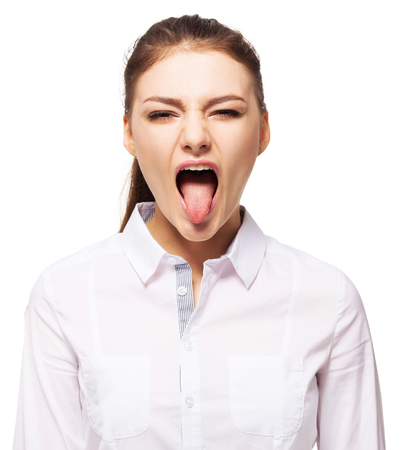 spunky: Woman showing tongue. Female isolated on white Stock Photo