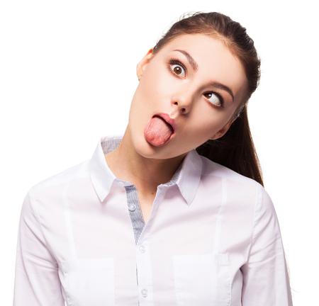 grimace: Woman showing tongue. Female grimace