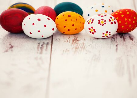 objects: Eggs on wooden old boards. Easter celebration Stock Photo