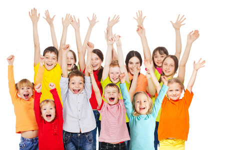 Happy group children isolated at white background. Smiling teen. Frendship boys and girls different ages Standard-Bild