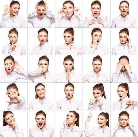 emociones: Hamming mujer. Femenino diferentes emociones. collage