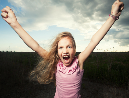 only girls: Happy girl at summer. Crazy child