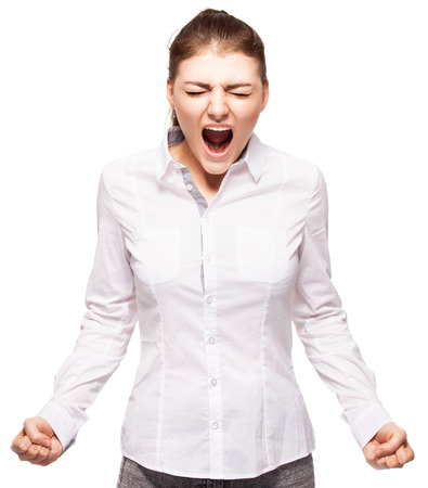 behavior: Screaming woman isolated on white background. Stock Photo