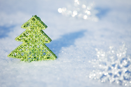 winters: Christmas tree on snow. Winters background. Christmas card.