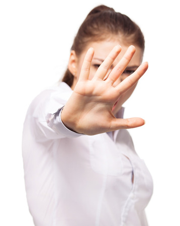 Dissatisfied woman covering the face with his hand. Young female isolated Stock Photo