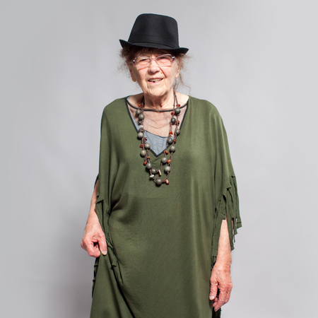 elderly woman: Stylish elderly woman. Studio shot. Happy old female Stock Photo