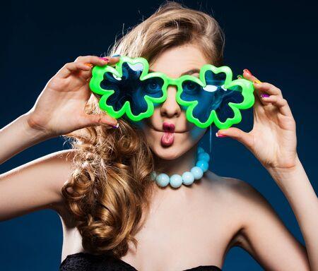 Cheerful female fooling around. Studio shot Stock Photo