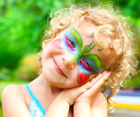 bodyart: Beautiful girl with bodyart face Stock Photo