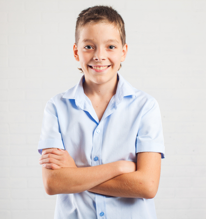 Happy boy. Smiling teenager at school Stock Photo