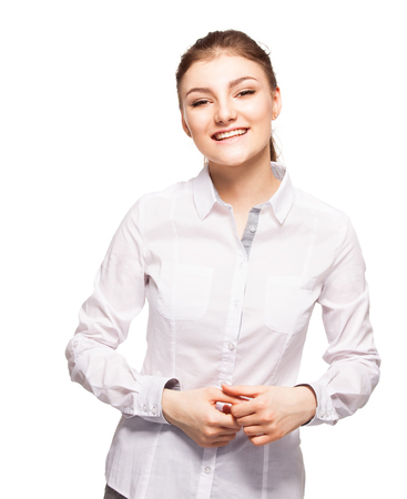 Woman at white background. Young female isolated  Stock Photo