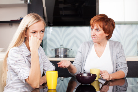 Conflict between mother and daughter. Quarrel