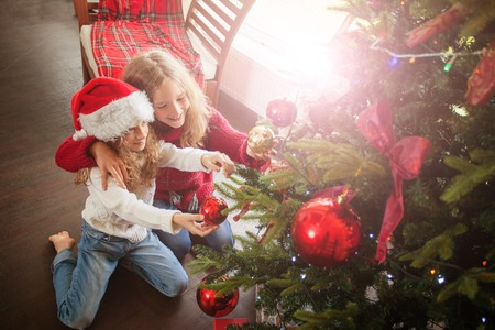 Children decoration christmas tree Stock Photo
