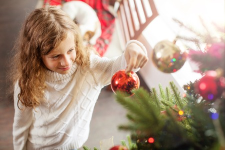 Child decoration christmas tree Stock Photo