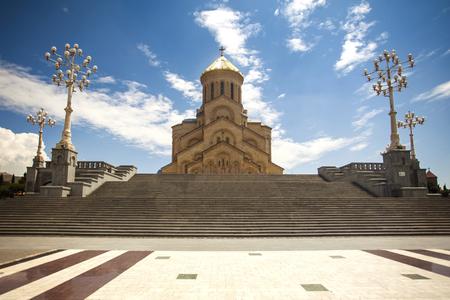 Cathedral of Tsminda Sameba Фото со стока