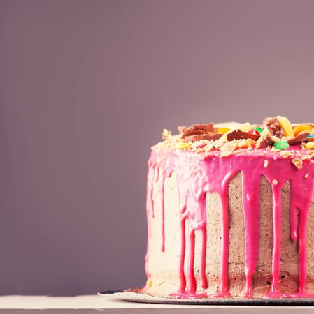 Beautiful big pink cake. Birthday cake