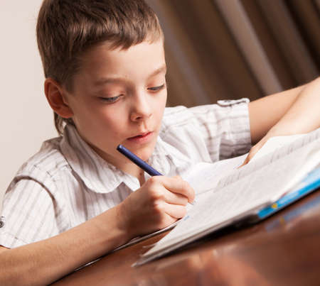 Boy doing homework. Child education Zdjęcie Seryjne