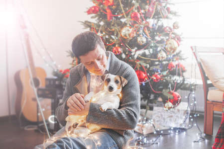 Man with dog near christmas tree. Happy man with pet at home