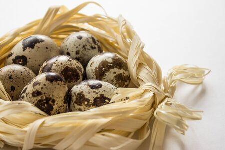Quail eggs in the decorative nest
