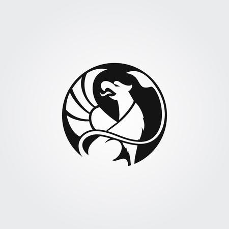 Silhouette du logo du Griffon avec le bec ouvert et l'aile surélevée dans le cercle Banque d'images - 84221533