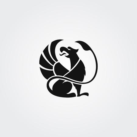 Silhouette de logo du griffon avec le bec ouvert et l'aile surélevée dans le cercle Banque d'images - 84221529
