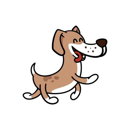 happy dog walk carefree Illustration