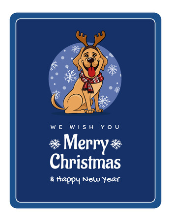 greetings card We wish You a Marry Christmas and Happy New Year, funny Labrador Illustration