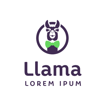 Llama logo in a circle with a bow on the neck 矢量图像