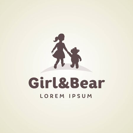 Childrens, girl with a bear holding hands