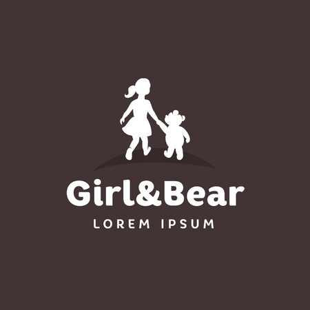 Childrens logo, girl with a bear holding hands Illustration